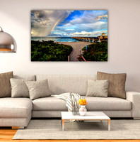 "'DOUBLE RAINBOW"" JUNO BEACH 40X60 HD METAL"
